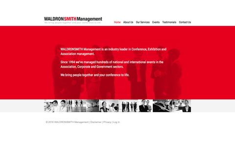 Screenshot of Home Page waldronsmith.com.au - Conference and Event Management - WALDRONSMITH Management - captured Feb. 17, 2016