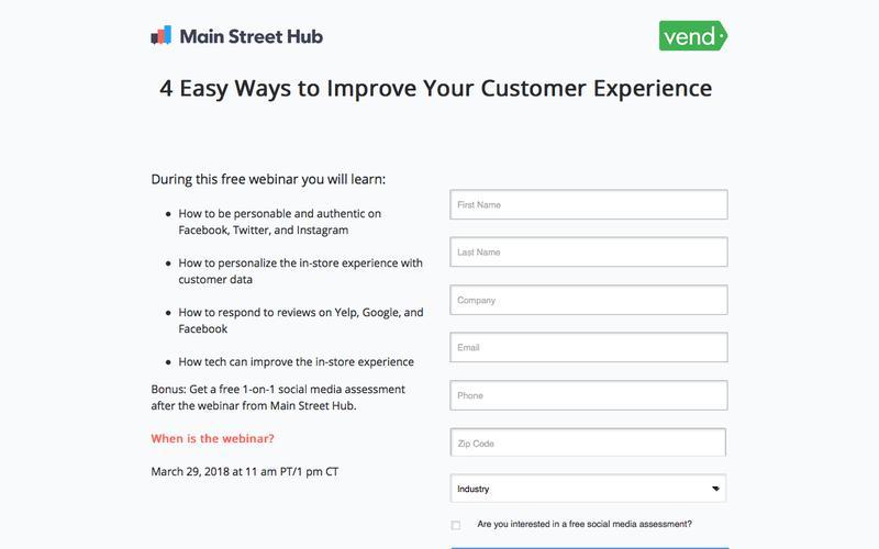 Free Webinar: Main Street Hub & Vend