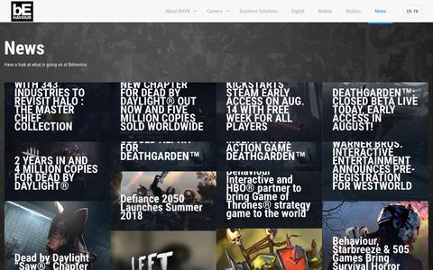 Screenshot of Press Page bhvr.com - News – Behaviour Interactive - captured Sept. 23, 2018