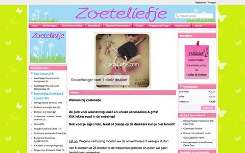 Screenshot of Home Page zoeteliefje.com - Dé plek voor waanzinnig leuke en unieke handgemaakte drukkers en clicks!! - captured Sept. 30, 2014