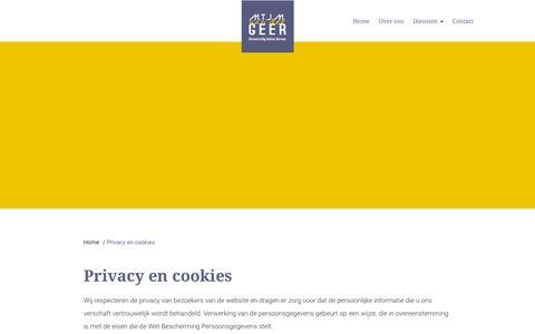 Screenshot of Privacy Page vdgeerbouwadvies.nl - Privacy en cookies - Geer Bouwadvies - captured Oct. 1, 2018