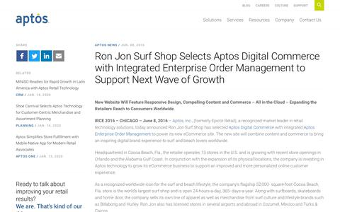 Screenshot of Support Page aptos.com - Ron Jon Surf Shop Selects Aptos Digital Commerce with Integrated Enterprise Order Management to Support Next Wave of Growth - Aptos - captured Feb. 20, 2020