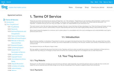 Screenshot of Terms Page ting.com - Ting is a smarter way to do mobile. Check Your Savings. - captured March 9, 2019