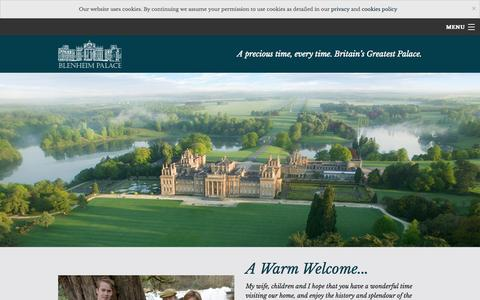 Screenshot of Home Page blenheimpalace.com - Discover Blenheim Palace for an inspiring day out - captured Oct. 1, 2015