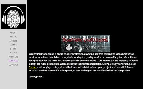 Screenshot of Services Page sykophunk.com - Sykophunk Productions - services - captured Oct. 7, 2014