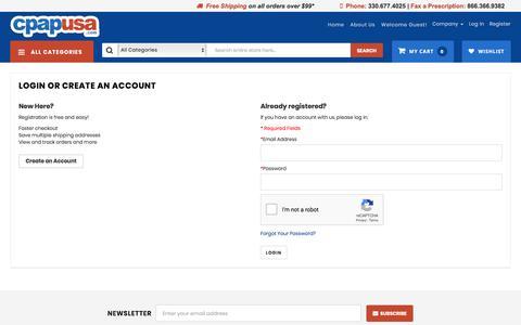 Screenshot of Login Page cpapusa.com - Customer Login - CPAPUSA.com - captured Nov. 21, 2019