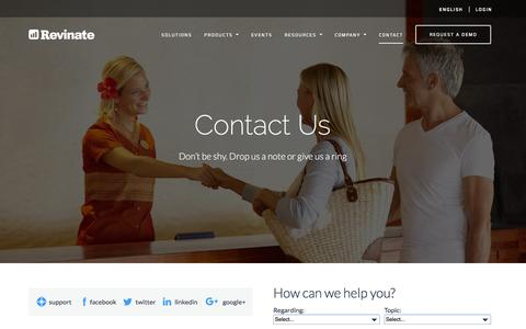 Screenshot of Contact Page revinate.com - Revinate | Contact Us - captured Jan. 13, 2016
