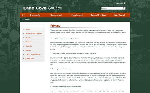Screenshot of Privacy Page nsw.gov.au - Privacy - captured Oct. 10, 2014