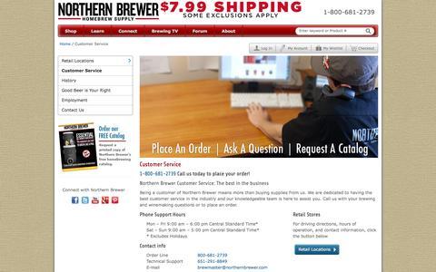 Screenshot of Support Page northernbrewer.com - Northern Brewer Customer Service - Order & Support Information - captured Sept. 16, 2014