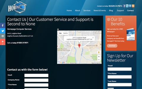 Screenshot of Contact Page hpage.co.uk - Contact Homepage Computer Services   **1.525.21.7671**   Leighton Buzzard, Bedfordshire   Homepage Computer Services - captured Aug. 28, 2017