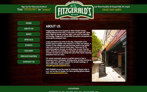 Screenshot of About Page fitzgeraldschapelhill.com - Fitzgerald's Irish Pub 206 West Franklin St Chapel Hill NC (919) 240-4560 - captured Oct. 6, 2014