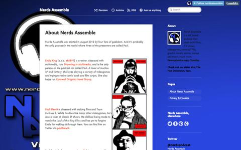 Screenshot of About Page nerdsassemble.co.uk - Nerds Assemble • About Nerds Assemble - captured Oct. 26, 2014