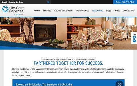 Screenshot of Case Studies Page lifecareserviceslcs.com - Case Studies   Senior Living Management Services - captured Nov. 7, 2016