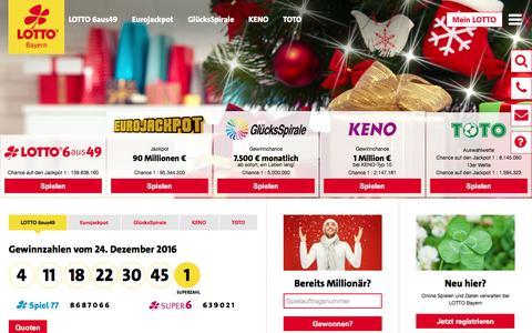 Screenshot of Home Page lotto-bayern.de - LOTTO Bayern - Startseite - captured Dec. 25, 2016