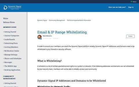 Screenshot of Support Page dynamicsignal.com - Email & IP Range Whitelisting – Dynamic Signal - captured Nov. 4, 2019