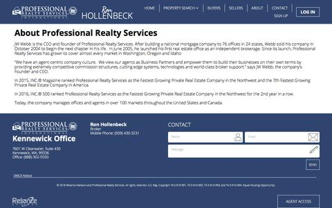 Screenshot of About Page professionalrealtyservices.com - About Us - captured July 1, 2018