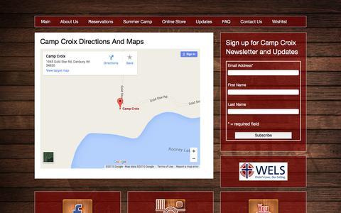 Screenshot of Maps & Directions Page campcroix.org - Directions and Maps Camp Croix Youth Bible Camp - captured Dec. 7, 2015