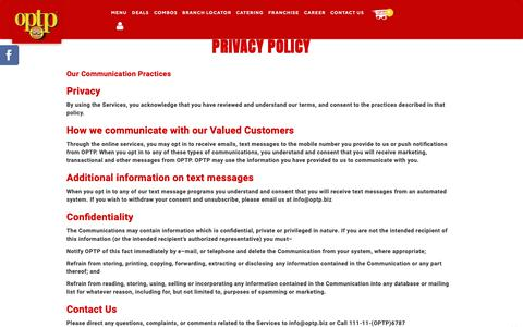 Screenshot of Privacy Page optp.biz - OPTP  - POLICY - captured Oct. 18, 2018