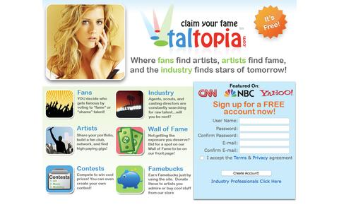 Screenshot of Landing Page taltopia.com - Connect With Fans | Talent Networking Tools | Artist Resource |Find Casting Calls - captured Aug. 18, 2016