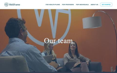 Screenshot of Team Page wellframe.com - Wellframe® - Connecting people - Amplifying care - captured Jan. 27, 2019