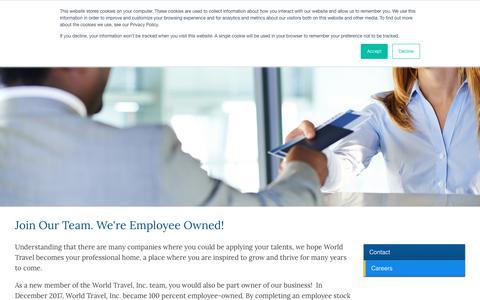 Screenshot of Jobs Page worldtravelinc.com - World Travel Inc - Careers - captured Nov. 18, 2018