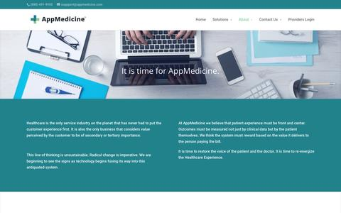 Screenshot of About Page appmedicine.com - About   AppMedicine - captured Feb. 6, 2016