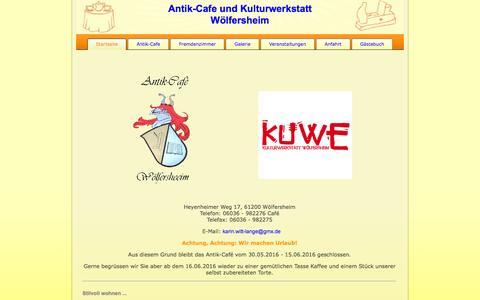 Screenshot of Home Page tischlerei-antik-cafe.de - Antik-Cafe und Tischlerei Lange, Wölfersheim - captured June 9, 2016