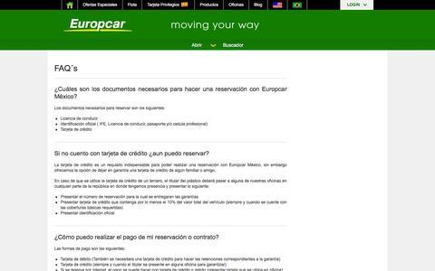 Screenshot of FAQ Page europcar.com.mx - Servicio de renta de autos en todo México | Europcar México - captured Jan. 31, 2016