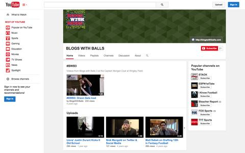 Screenshot of YouTube Page youtube.com - BLOGS WITH BALLS  - YouTube - captured Oct. 23, 2014