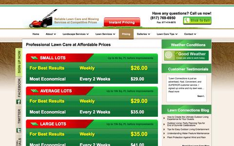 Screenshot of Pricing Page lawnconnections.com - Affordable Lawn Care Haslet TX-Lawn Mowing Prices-Landscaping Prices - captured Oct. 2, 2014