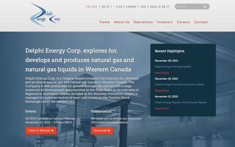 Screenshot of Home Page delphienergy.ca - Home - Delphi Energy Corp. - captured Jan. 7, 2016