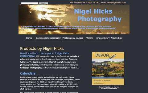 Screenshot of Products Page nigelhicks.com - Products by Nigel Hicks Photography. Prints, calendars and books by Nigel Hicks - captured Nov. 5, 2014
