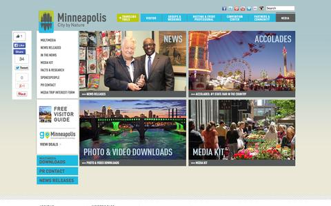 Screenshot of Press Page minneapolis.org - Media | Minneapolis CVB - captured Oct. 27, 2014
