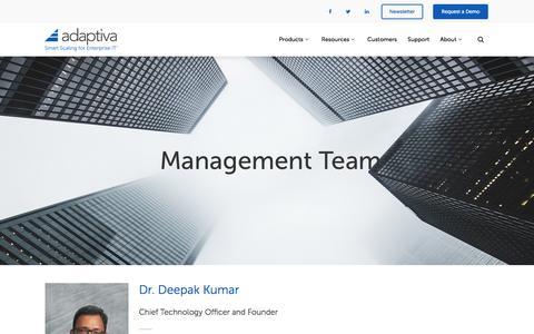 Screenshot of Team Page adaptiva.com - Management Team - Adaptiva - captured July 24, 2016