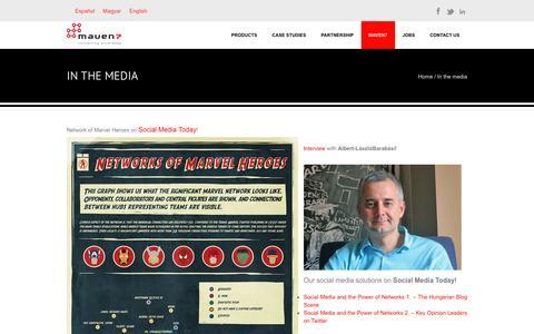 Screenshot of Press Page maven7.com - In the media | Maven7 - captured Feb. 12, 2016