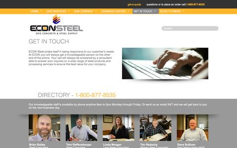 Screenshot of Maps & Directions Page econsteel.com - Get In Touch - captured Nov. 10, 2016