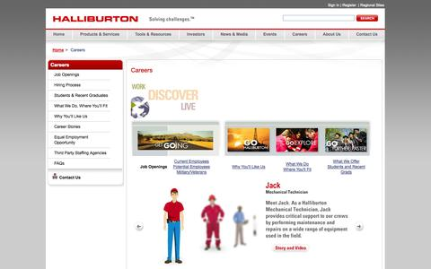 Screenshot of Jobs Page halliburton.com - Careers - Halliburton - captured Sept. 18, 2014