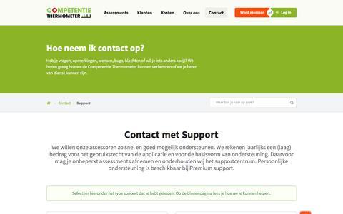 Screenshot of Support Page ctmeter.nl - Contact met de afdeling Support - Onderwijs assessments - captured Nov. 10, 2016