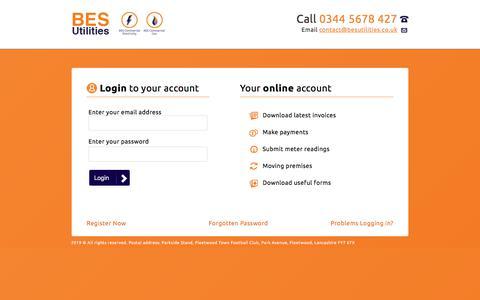 Screenshot of Login Page besutilities.co.uk - BES Utilities - Customer Online Account - captured June 28, 2019