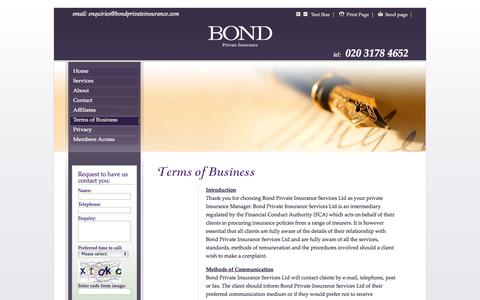 Screenshot of Terms Page bondprivateinsurance.com - Bond Private Insurance - Terms of Business - captured Oct. 5, 2014