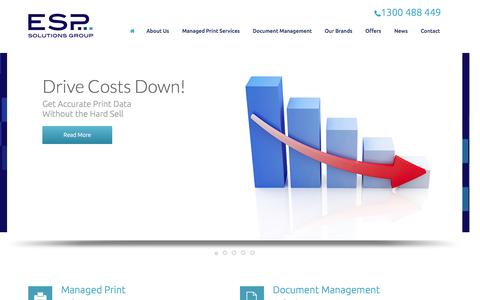 Screenshot of Home Page espsg.com.au - ESP Solutions Group - captured Jan. 23, 2015