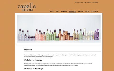 Screenshot of Products Page capelladsm.com - Products | Capella - captured Oct. 1, 2014