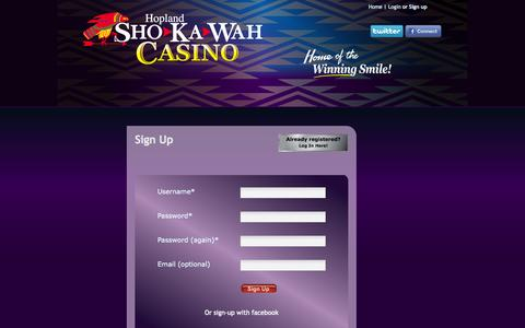 Screenshot of Signup Page shokawah.com - Hopland Sho-Ka-Wah Casino : Signup - captured Oct. 3, 2014