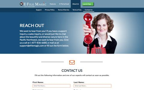 Screenshot of Contact Page efilemagic.com - Contact Us |  About US - E-File Magic - captured Dec. 5, 2015