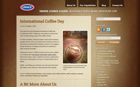 Screenshot of Blog urnex.com - Urnex Comes Clean | A Blog About the Importance of Clean Coffee & Espresso Equipment - captured Oct. 26, 2014