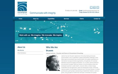 Screenshot of About Page conscienceconsult.net - Conscience Consulting - About Us - captured Oct. 3, 2014