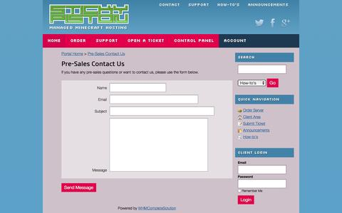 Screenshot of Contact Page stickypiston.co - Pre-Sales Contact Us - StickyPiston Hosting - captured Oct. 7, 2014