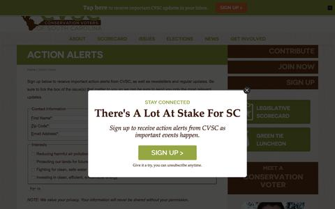 Screenshot of Signup Page cvsc.org - Action Alerts | Conservation Voters of South CarolinaConservation Voters of South Carolina - captured Aug. 24, 2017