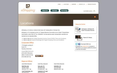 Screenshot of Locations Page eshipping.biz - eShipping | Regional office locations for freight shipping, logistics and technology - captured Sept. 30, 2014