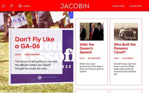 Screenshot of Home Page jacobinmag.com - Jacobin - captured June 22, 2017